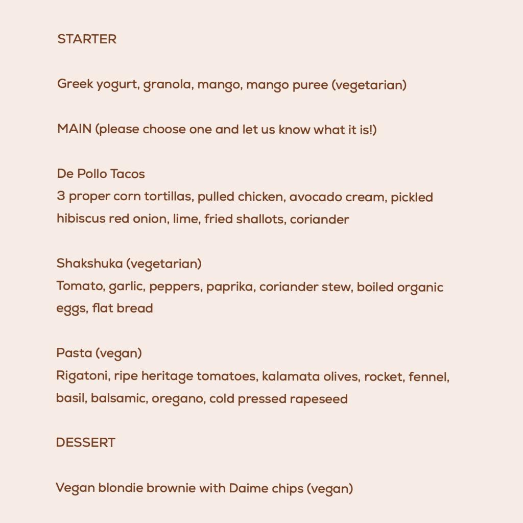 Richmond menu